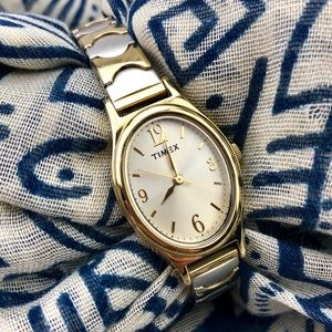 Vintage Timex Silver Gold Elastic Stretch Watch